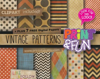 Digital Paper Patterns Backgrounds Scrapbooking Vintage, Old paper, Grunge, Shabby Chic, for invitations, blog, cardmaking, chevron, dots