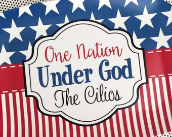Personalized Fourth of July Platter, Personalized Platter, monogrammed platter tray, serving tray, One Nation Under God, 4th of July Platter