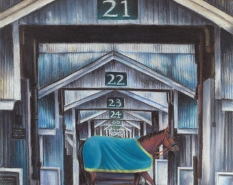 Keeneland Stables featuring America Pharoah chalk pastel print; Kentucky derby, thoroughbred horse, bourbon, wall decor art, wedding
