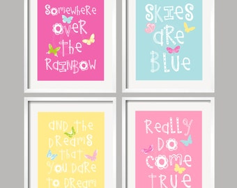 Somewhere Over The Rainbow Girl Nursery Art Prints in bright colors 8x10 , great baby shower gift