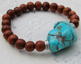 Turquoise nugget bracelet, stretch bayong wood and turquoise bracelet