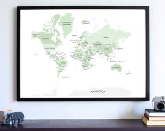 World Map Wall ART PRINT, map my travels, college apartment, All the countries in the world, Travel Map, Wanderlust  (Shades of Green)