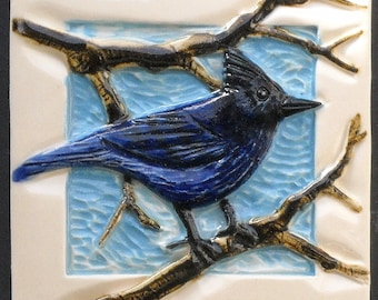 Arts and Crafts, Mission Style, Stellar's  Blue Jay Hand Made Tile