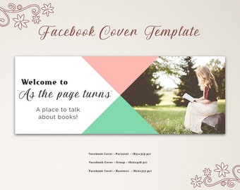 Book Club Facebook Group Cover Template, Facebook Banner, Facebook Timeline, Facebook Template, INSTANT DOWNLOAD