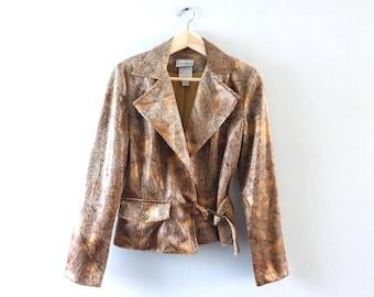 Vintage Cropped Jacket | 1980s Joseph Ribhoff Designer Cropped Jacket Size 6