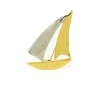 Vintage, Sailboat Brooch, Silver Gold Tone