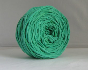 T Shirt Yarn, Hand Dyed, Verdant Green, 60 Yards, Green T-Shirt Yarn, Green Tshirt Yarn, Green Jersey Yarn, Green Cotton Yarn