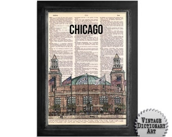 The Colorful Chicago Navy Pier - printed on Recycled Vintage Dictionary Paper - 8x10.5