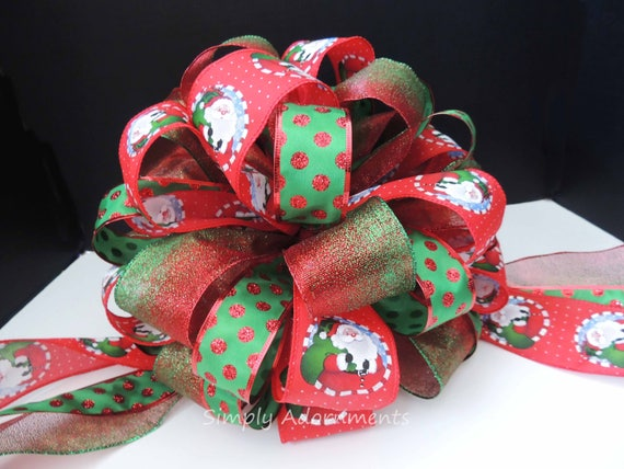 Santa Clause Tree Topper Bow Red Green Christmas Tree Bow Blue Kelly Green Red Christmas Topper Tree Bow Santa Theme Christmas Decoration