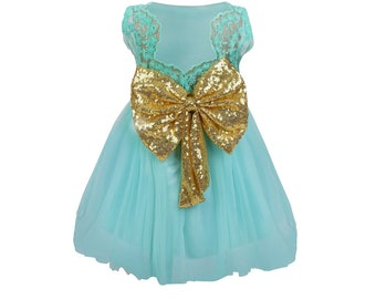 Sadie Flower Girl Christening Occasion Dress - Sea Green