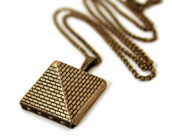 Pyramid Locket - Egyptian Pyramid Brick Design Gold Locket Necklace - Gift For Her