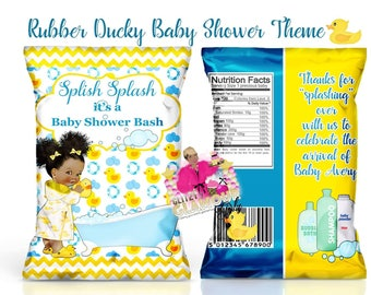 Rub-a-dub dub chip bag, Rubber Ducky chip bag, Rubber Ducky baby shower, Rub-a-dub dub baby shower favor, Baby Shower favor, Yellow Duck