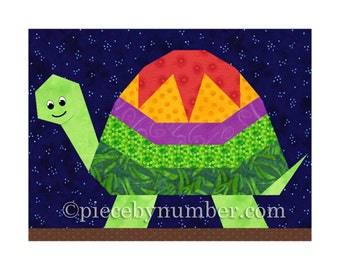 Turtle quilt block pattern, paper piecing quilt patterns, instant download, PDF pattern, baby quilt pattern, turtle quilt, animal patterns