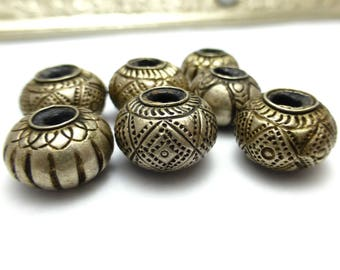 Sterling Silver Hill Tribe Hollow Beads Bead Fancy Component 7 Beads Lot - JAC