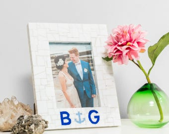 5x7 Personalized Monogram Wedding Picture Frame with Beach Anchor in Stained Glass Mosaic Tile - Engagement Gift