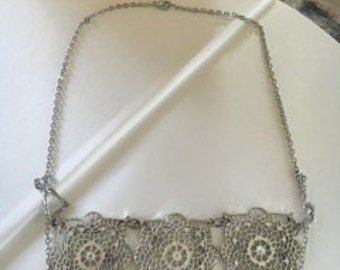Vintage Lace Inspired Silver Necklace