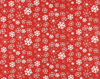 One Metre of Snowflake Soft Furnishing Fabric in Red