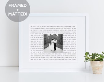 Custom Framed Song Lyrics & Photo Print, First Anniversary Gift, Wedding Gift, Gift for Her, Engagement Gift, Framed Poem Photo
