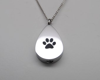 Tear with Engraved Paw Print Cremation Urn Necklace || Ashes Keepsake || Engraveable