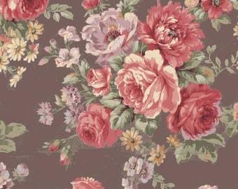 Ruru Bouquet Love Rose Love Cotton Fabric Rose ru2300-11F Roses on Brown
