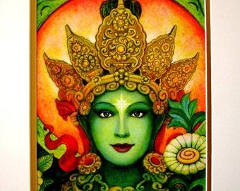 Green Tara Buddha art Goddess meditation print of spiritual painting by Sue Halstenberg