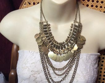 Vintage 1950s Egyptian Revivial brass beads discs chains multi strand necklace.