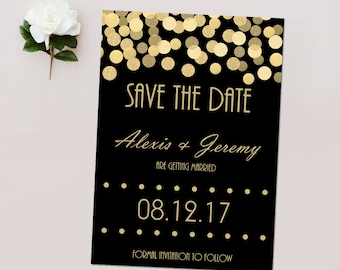 Save the Dates, Black and Gold Glitter*, Gold Confetti Save the Date Cards, Wedding Announcement Cards, Gold and Black