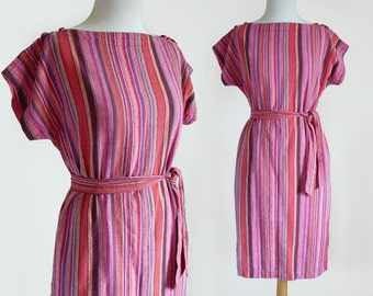 70's 80's Galeries Lafayette Pink Multicolored Vertical Stripe Indian Cotton Belted Shift Dress / Small-Medium
