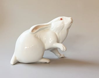 White Porcelain Bunny Rabbit Figurine Herend Bunny Figurine
