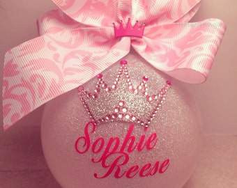 Large Glass Custom Princess Crown Ornament