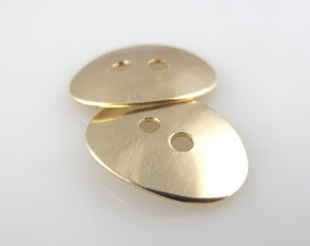 Gold Filled Buttons OVAL Connectors Fasteners Jewelry Components Accessories Clothing Hand Stamping 19mm QTY 2