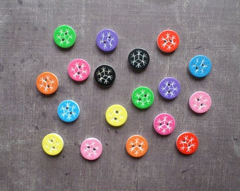 40 buttons round mix color and white pattern snowflake 1.2 cm