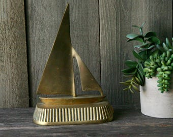 Brass Sailboat Bohemian Jungalow Home Decor Vintage From Nowvintage on Etsy