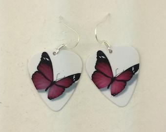 Purple butterfly guitar pick earrings