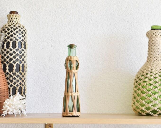 green woven straw cork glass vase / bud flower vase / plant holder