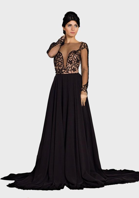 Schwarzen Hochzeitskleid Gothic Brautkleid Alternative