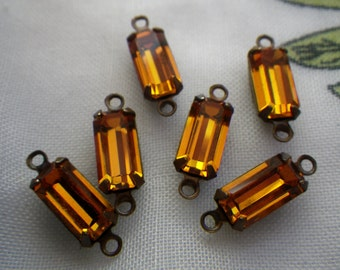 Swarovski Topaz 10X5mm Baguette Vintage Glass Connectors Two Loops 6 Pcs
