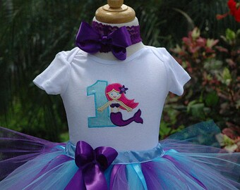 Mermaid Birthday Outfit, Mermaid Birthday Shirt, One Year Old Birthday Outfit,1st Birthday Mermaid Under Sea Party. Mermaid Tutu Outfit