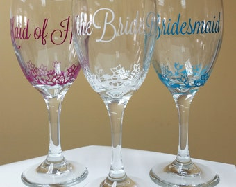Wedding party set of 3 wine glasses