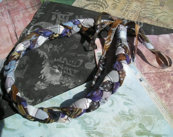 ELIADA Handmade Braided Fabric Boho Necklace Blueish Grey Purple White and Brown