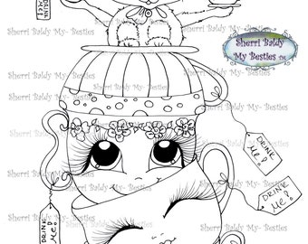 INSTANT DOWNLOAD Digital Digi Stamps Big Eye Big Head Dolls Img176 Alice In The Looking Glass Bestie By Sherri Baldy