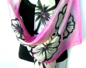 "Silk Scarf, Hand Painted Silk Scarf, Pink Black White, Floral Silk Scarf, 71"" x 18"", Gift For Her"