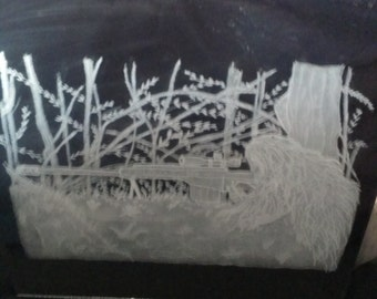 "Sniper in ghillie suit with Barrett m82a1 .50 cal rifle engraved on a 12"" by 12"" mirror. (made to order)"