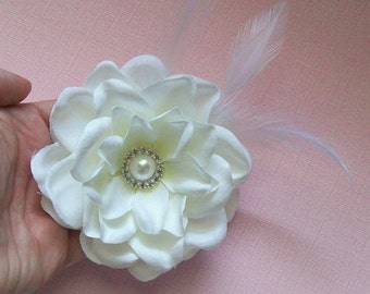 Bridal Floral Up Do Gardenia Fascinator Alligator Clip with White Feathers and Rhinestone Center