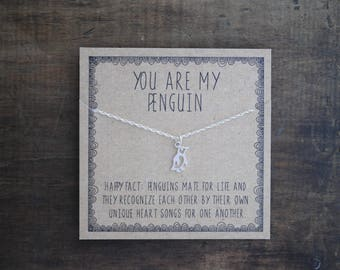 READY TO SHIP . You are my penguin necklace .  Gift for girlfriend gift for wife . Anniversary day gift