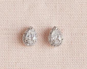 Teardrop Stud Earrings, Rose Gold, Gold Stud Earrings, Teardrop, Bridesmaid Jewelry, Tiny Teardrop Stud Earrings