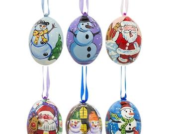"3"" Set of 6 Santa and Snowmen Wooden Christmas Ornaments"