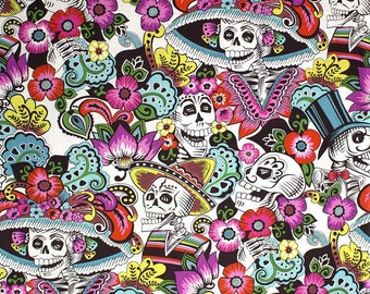 Day of the dead, fabric by the half yard, Alexander Henry, Skeleton cotton, Dia de la Catrina, Quilt fabric, Craft cotton, Skulls, Mexican