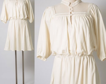 Vintage ivory Dress, 70s Dress, vintage Cream dress, vintage Blouson dress, 70s ivory dress, Vintage mini dress, Ivory lace dress - L/XL