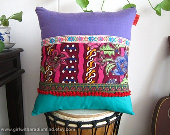 Boho Throw Pillow Batik - Lavender Purple and Blue Multicolored Ethnic Cushion Cover